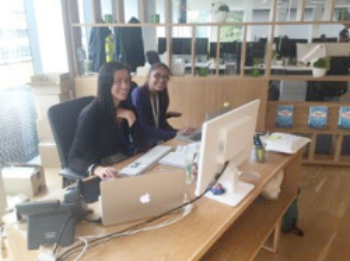 Workplace Experience intern, Vaishali, working with Hayley in reception to answer calls and hand out mail.