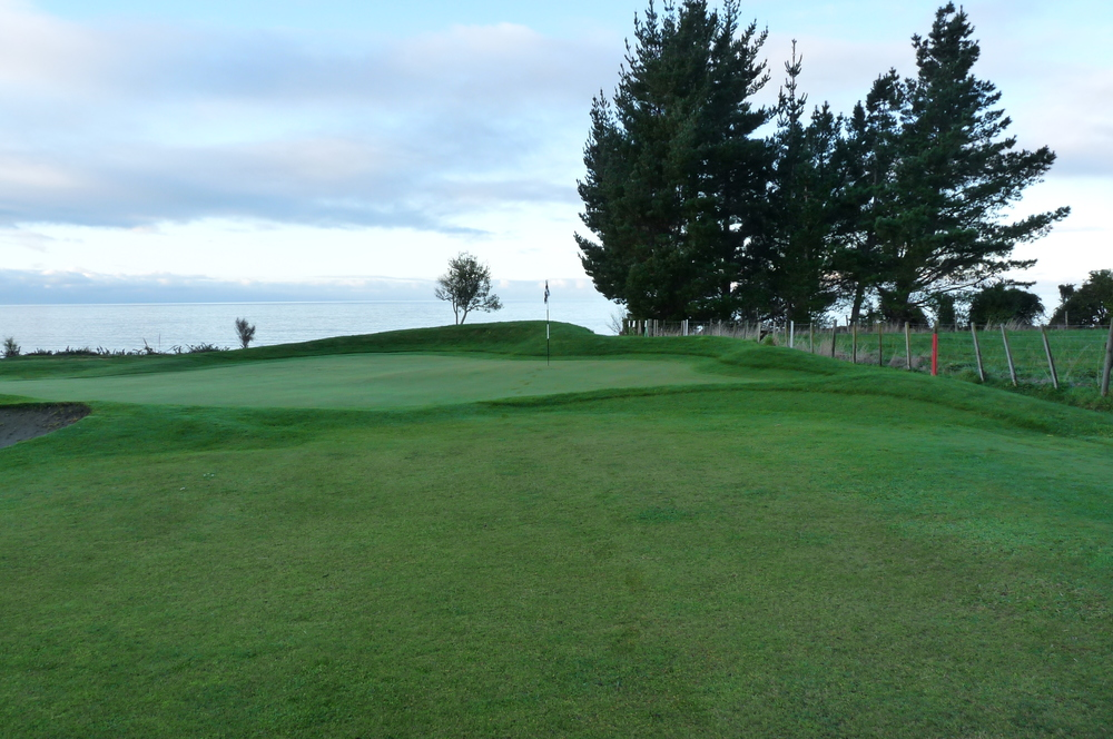 Green approach after aggressive tee shot