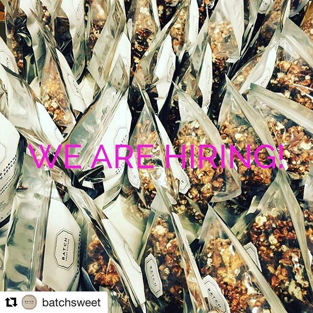 #Repost for our pals @batchsweet (if you're looking for a sweet job surrounded by damn good snacks, look below 👀👇😋) ・・・ We are hiring!! Looking for an enthusiastic hard worker to join our team! Please be in touch for more details! Friends - I would be so grateful for a share - thank you!!! sara@batchsweetkitchen.com  #popcorn #saltedcaramel #yvrfood #localvancouver #lovelocal #pretzels #sweetandspicy