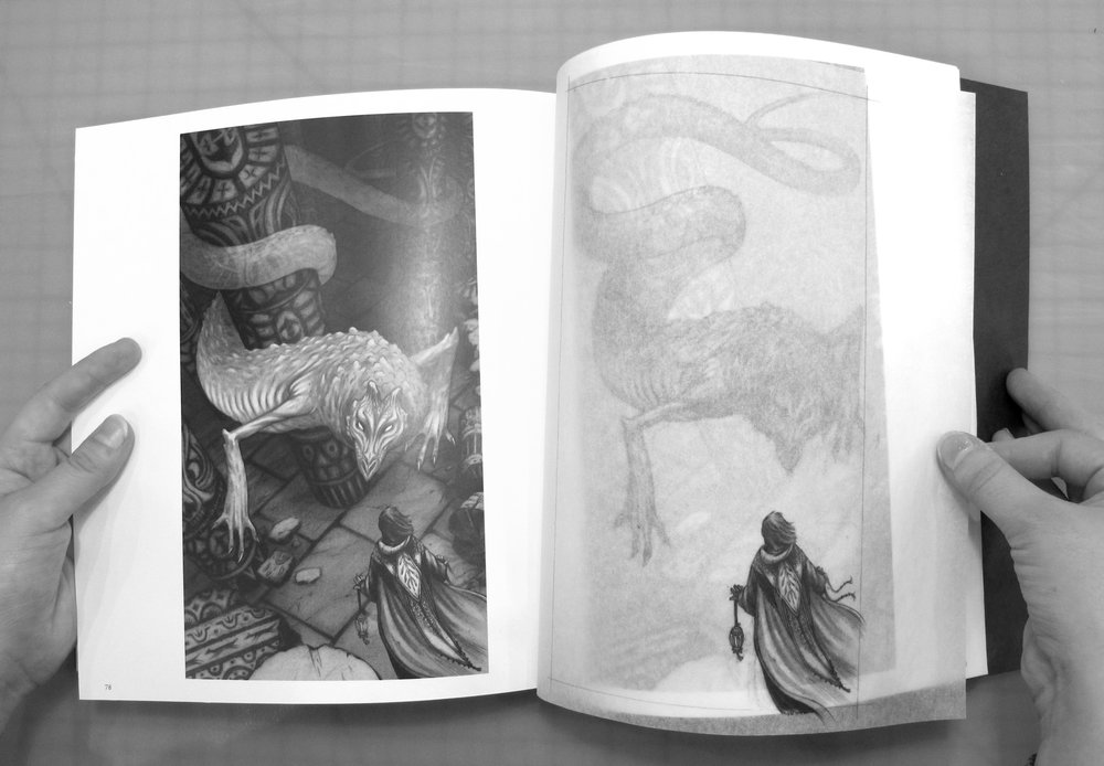 The interior of this project's eighty-six page concept book includes vellum overlays.