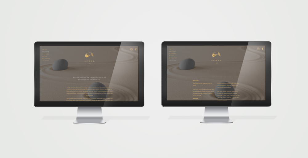 Sensu Spa - website design and development
