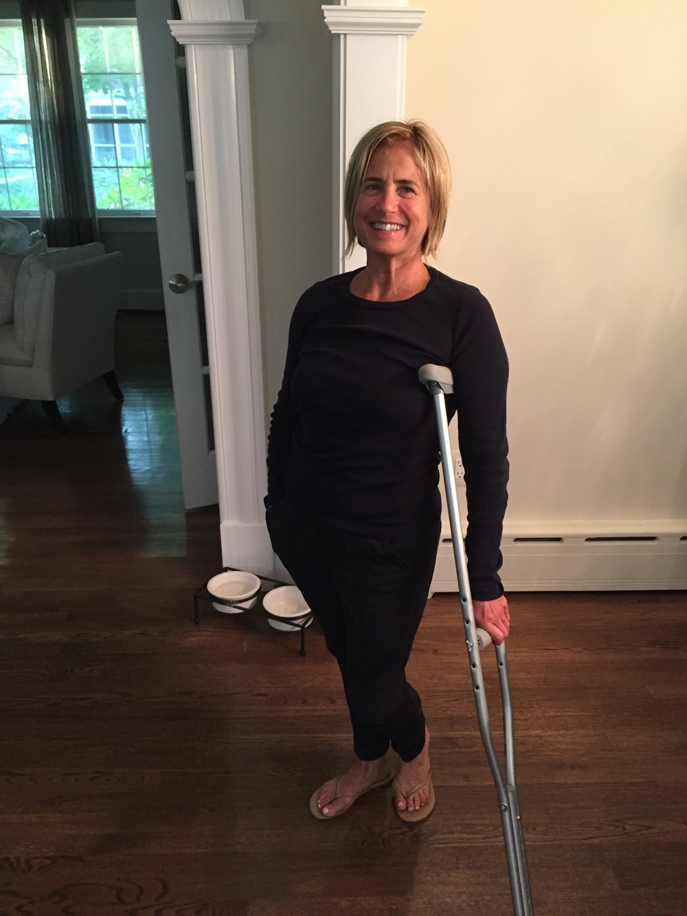 I borrowed one of Adin's crutches because I couldn't put weight on my left leg after getting an epidural steroid block injected into my lower spine to relieve my ridiculous glute pain. Today I am pain free and walking fine!