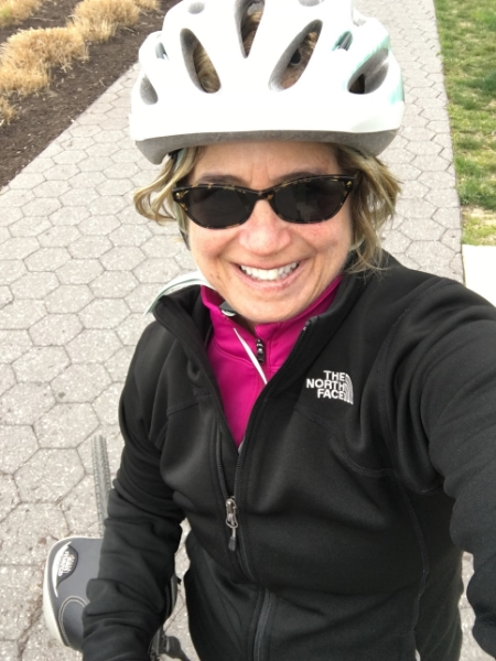 At the midway point of Sunday's 18.67 mile bike ride in 2 hours on a fast. Still smiling.