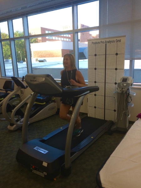 I didn't expect to get my workout in at the SMARTherapy clinic at Washington Orthopedics and Sports Medicine a few days before the Brooklyn Half Marathon on October 8, but I'll take 3.5 miles anyway I can. Dr. Edward Magur used needles to take pressure readings of my calf muscles both before and after running on the treadmill to determine whether the numbness in my feet during running might be from  exertional compartment syndrome . The result: I'm borderline in the left leg. We're ruling out a neuroma, and after getting a steroid injection, I'm feeling better and increasingly optimistic.