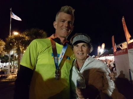 "IRONMAN Florida finishers Gini Fellows and Pat Fellows, Gini's son and coach. ""He deserves so much of the credit!"""