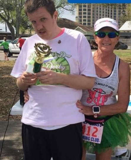 Here I am with Ricky B., after we raced together as part of our Ainsley's Angels team at the St. Patrick's 5K in Biloxi.
