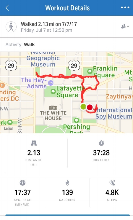 My stats from today's walk. I use Under Armour's mapmyfitness (also called mapmyrun, mapmyride, etc.). the entire family of apps feeds into mapmyfitness. Mostly it's a free app, but if you want audio coaching, there is a small monthly fee. I think the audio coaching is worth it.