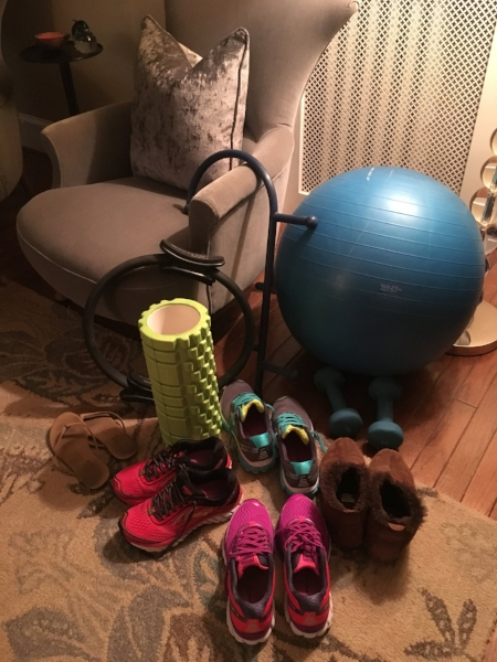 These days this is what you see when you enter my bedroom. I've been rotating my Brooks Ghost 9s as I get ready for race day on Sunday, and I don't want them to get all claustrophobic and stuffy in my closet. I'd wear those LLBean slippers everywhere if I could