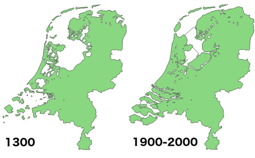 The Netherlands Before and After Land Reclamation. Map borrowed from  Brilliant Maps .