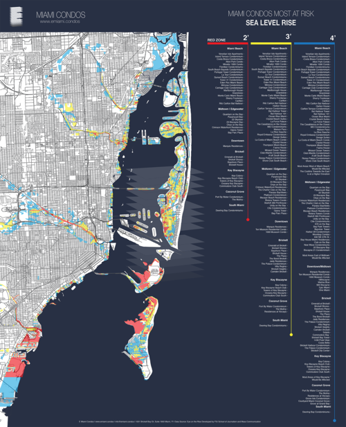 Map showing rising sea levels in Miami and its impact.