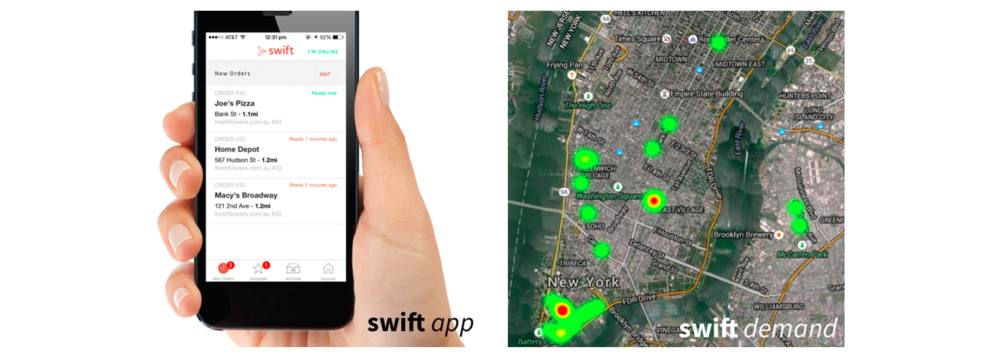 The Swift mobile app and demand analytics page in action. Photo: Swif