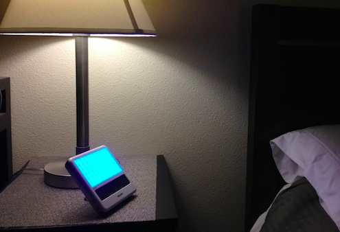 The Philips goLITE BLU Energy Light. From my bed stand