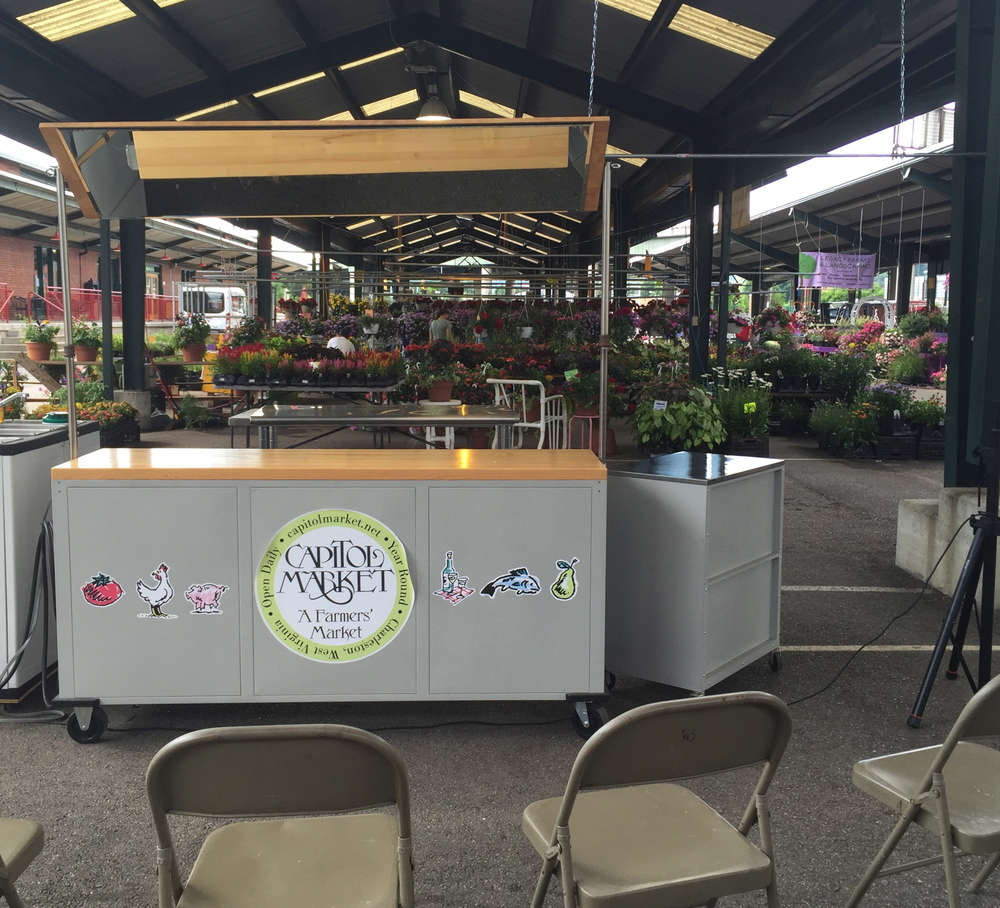 All quiet on the set before the al fresco cooking event at Capitol Market