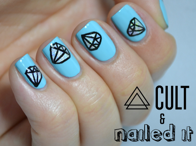Nailed It created a beautiful holo 2D diamond; looks great with that powder blue. Click the pic to get the tutorial.