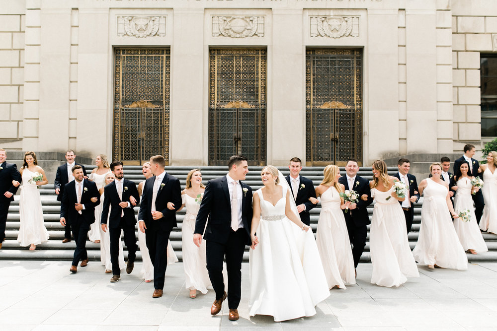 Downtown Indianpolis Wedding Photography at War Memorial with large bridal party