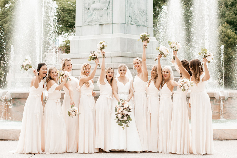Bridesmaids at summer downtown Indianapolis wedding