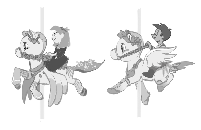 Guests ride the family of Pegasi and teach them how to fly by moving the reigns up and down.