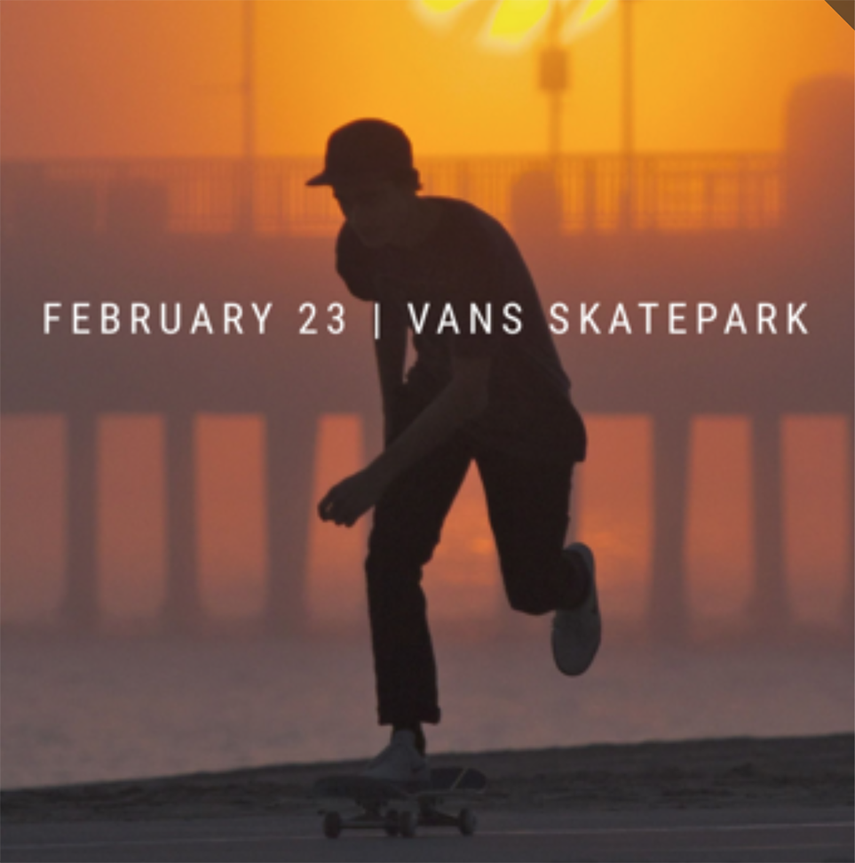 DIVERTdayz / Vans Skatepark - Orange, CA - On 2/23 come join me and Divert collective in a free experience that demonstrates how the action sports lifestyle can teach valuable lessons and inspire all. At the event, there will be skateboarding, music, photography, videography, and art.**NOTE** In order to give you the best possible experience, we can only accommodate the first 100 RSVPs. Hurry up and claim your spot HERE!At the event, donations for gently used action sports gear (boards, pads, parts, wetsuits, outerwear, boots, shoes, etc.) which will be distributed to at risk individuals through a local non-profit, Action Sports Kids (ASK).RESERVE MY SPOT NOW!