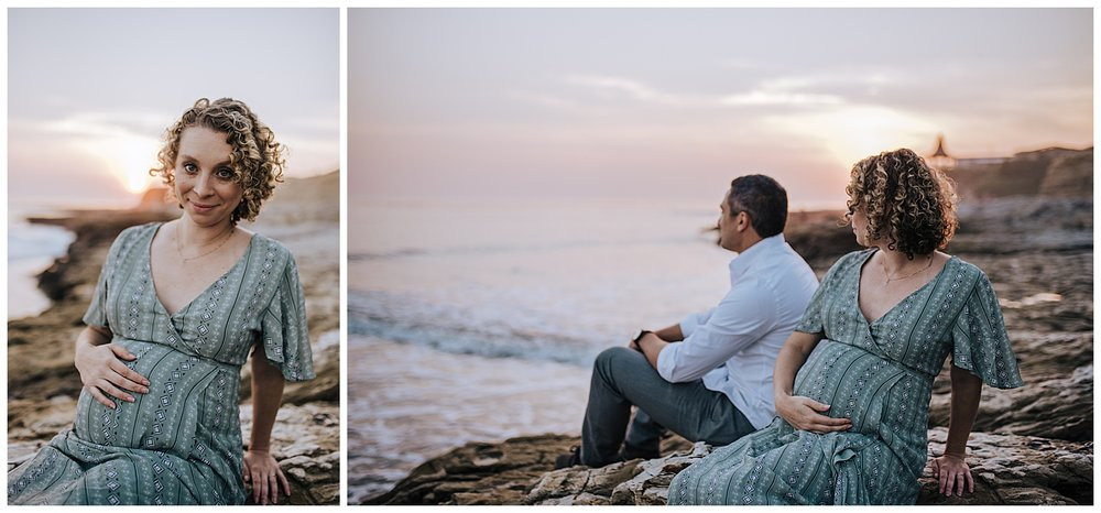 beach maternity session at sunset in santa cruz