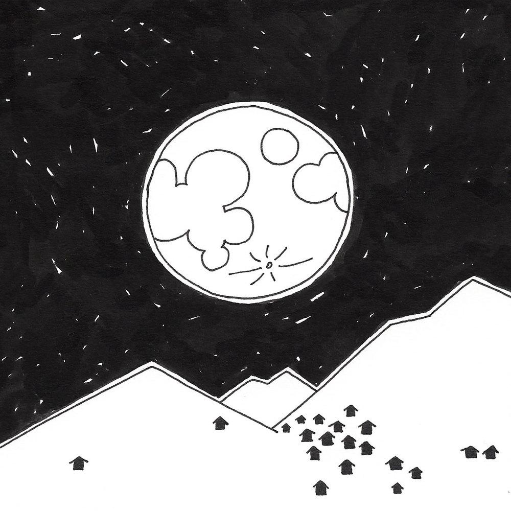 17 dicembre:  vedere la luna in cielo affascina, ma viverla in terra proietta altrove. Svegliarsi nel cuore della notte e camminare al buio della casa per osservarne i fasci di ombre di luce soffusa. Affacciarsi alla finestra e spostare gli occhi su quel panorama insolito, trasformato per una notte in pagine da sfogliare impressionate di bianco. E infine uscire e camminare sorretti dalla sua presenza fisica e morale, come la speranza sa accarezzare da lontano, anche le notti più buie.