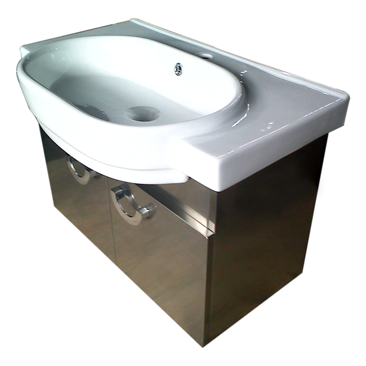 Large arc basin with two cabinets hava asia for Bathroom cabinets 70cm wide