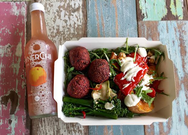Lunch of beetroot falafel salad with some yoghurt dressing and roasted veg, Synerchi orange and Lemon drink-super refreshing!