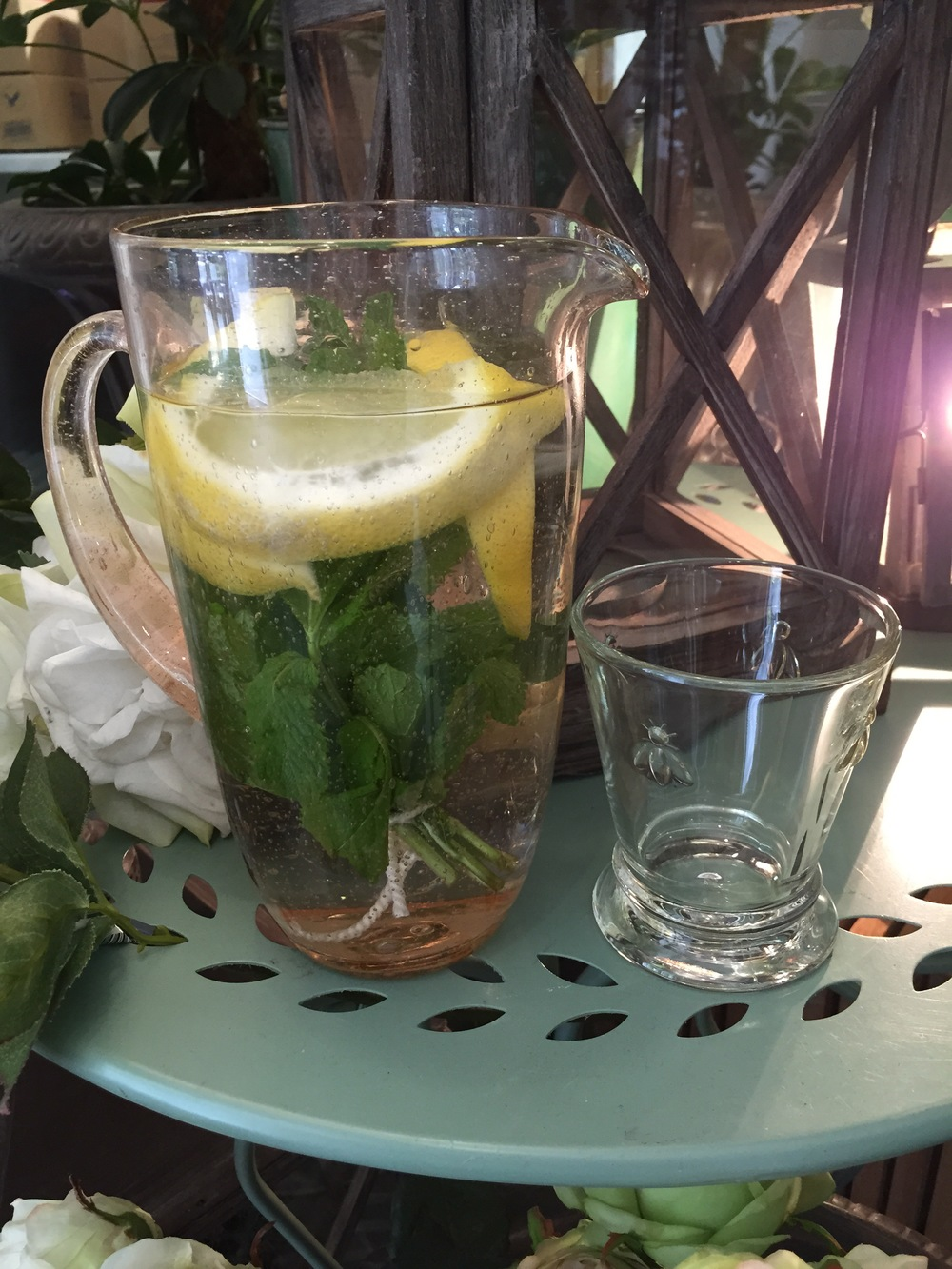 Water with mint, lemon and cucumber