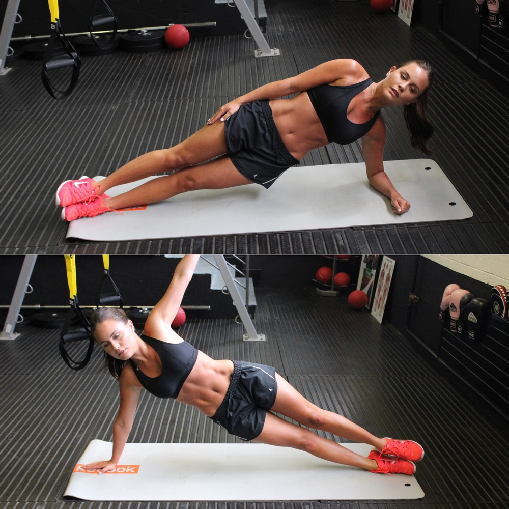 Side planks complete with hideous facial expressions