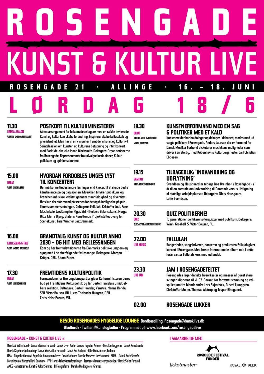 Festivalplakat, Rosengade Kunst og Kultur Live
