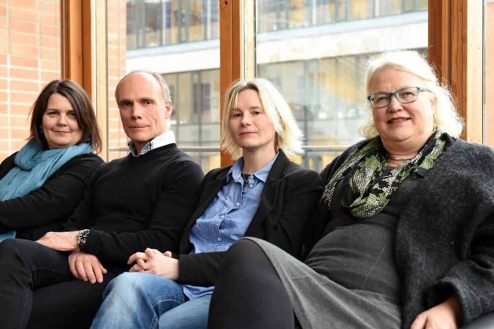 Medlemmene i NMHs Likestillingsutvalg (f.v.):Ingrid Holst Sollie, Sigmund Thorp, Lisa Dillan og Inger Anne Westby. Gunnar Flagstad og Cathrine Følstad var ikke tilstede da bildet ble tatt.
