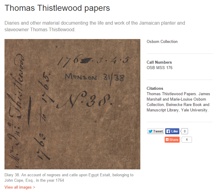 Catalogue of Thistlewoods material and diaries at the Osborn Collection