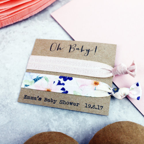 Personalised baby shower hair ties — Emilie Rose 819dc91a03d