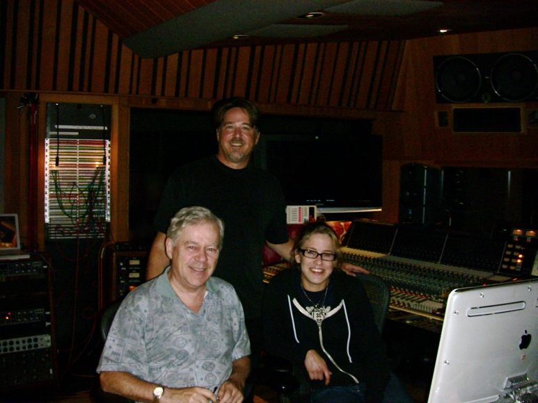 Director Joe Cortina, Producer Jack Hurley & Assistant Engineer Vanessa Parr at a mixing session