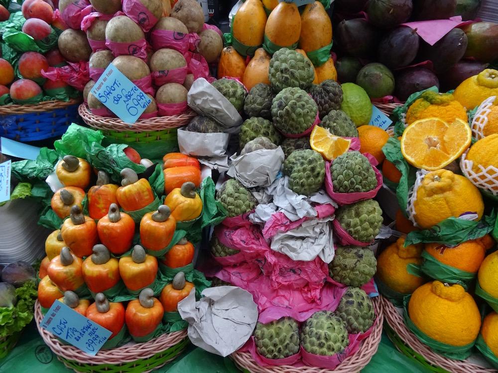 Cashew fruit and custard apples at Mercado Municipal São Paulo