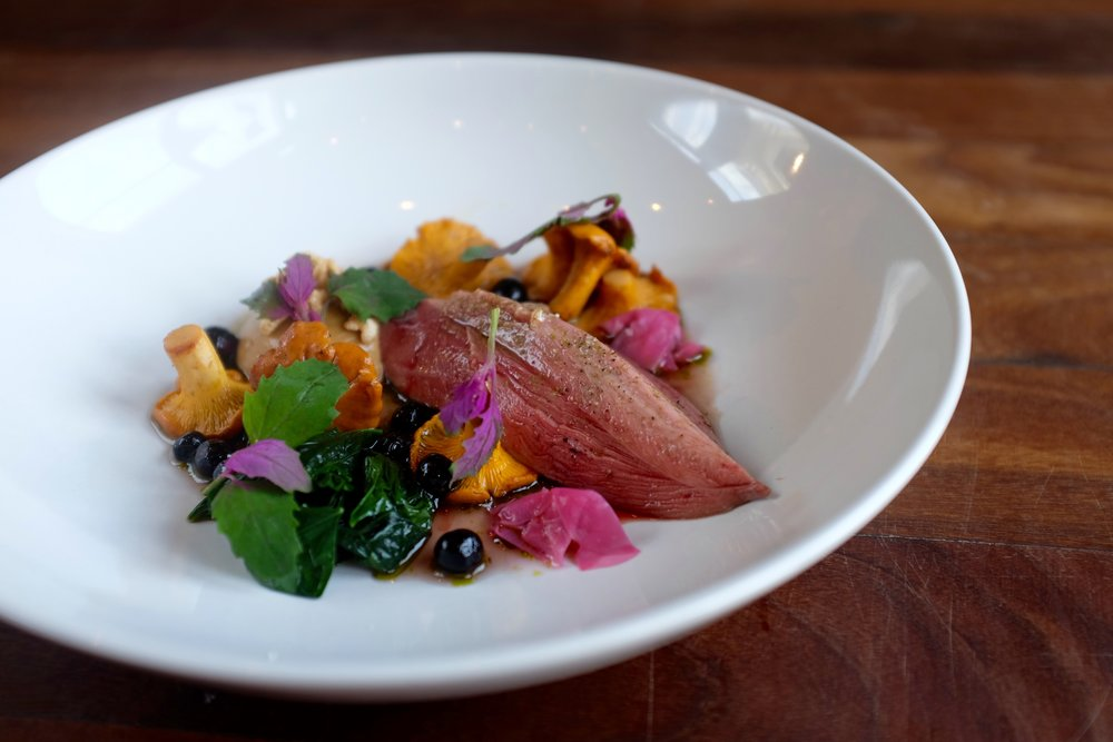 Grouse with girolles