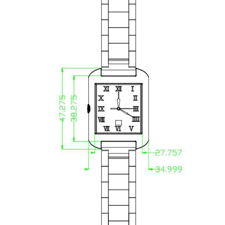 Drawing the watch design in 2D software.