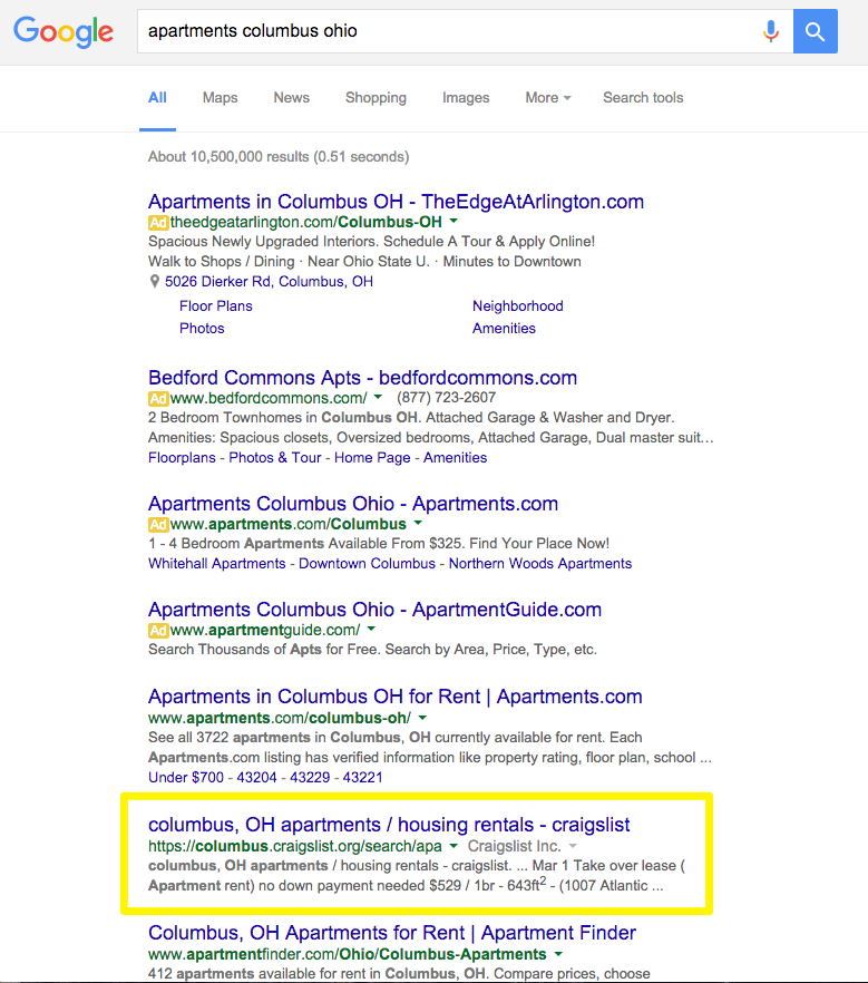 Not only because of the reviews  but also their  visibility  on search  engines  typically showing up in the first few slots for a location. 13 Advanced Apartment Marketing Tips for Attracting Renters with