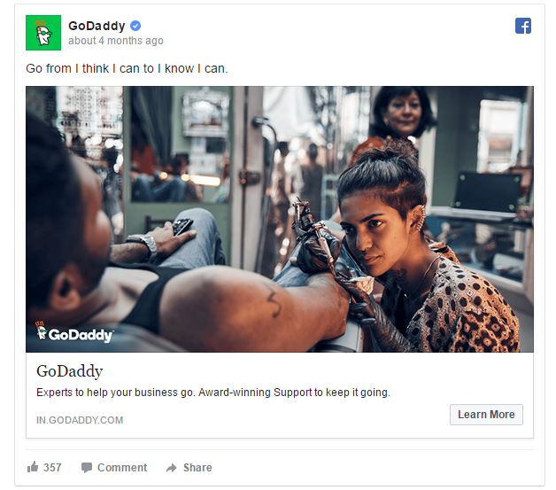 Godaddy Facebook Ads Example