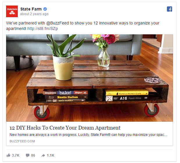 State Farm Facebook Ads Example