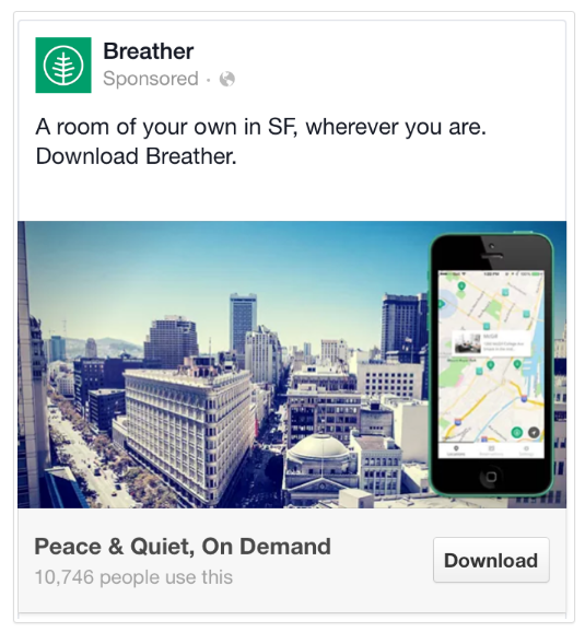 Breather Facebook Mobile Ads Example