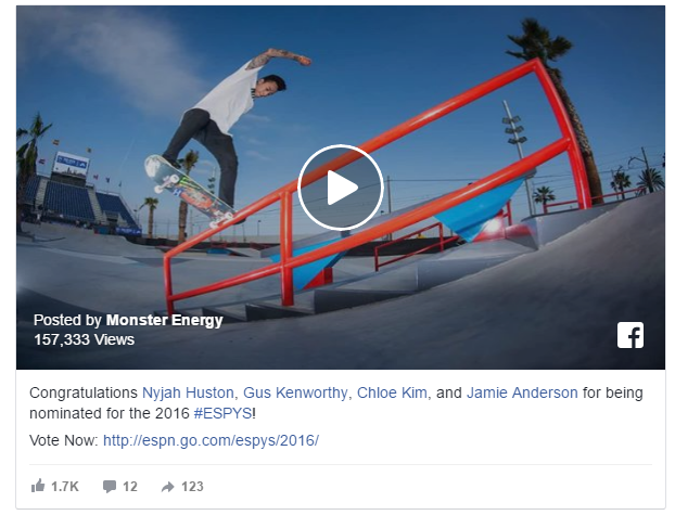Monster Energy Facebook Video Ads Example