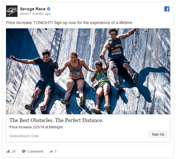 Savage Race Facebook Ads Example