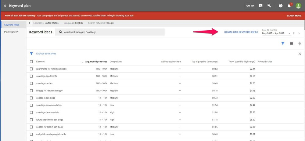 "Click ""Download Keyword Ideas"" to send the data to an .csv file."