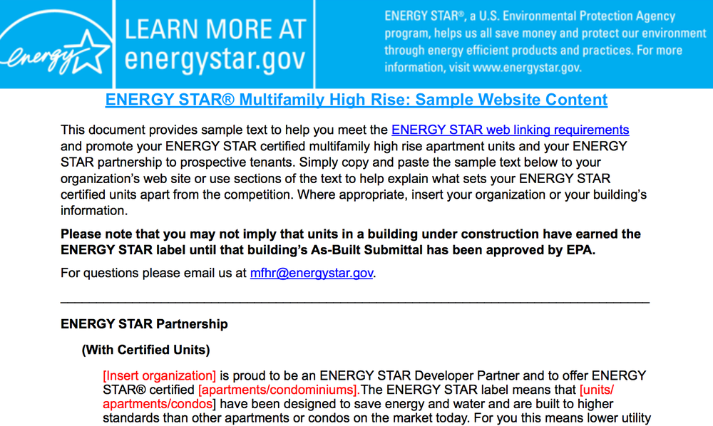 Energy Star is one of the best certifications to get. It's free and the links they provide have a ton of authority. -    image source