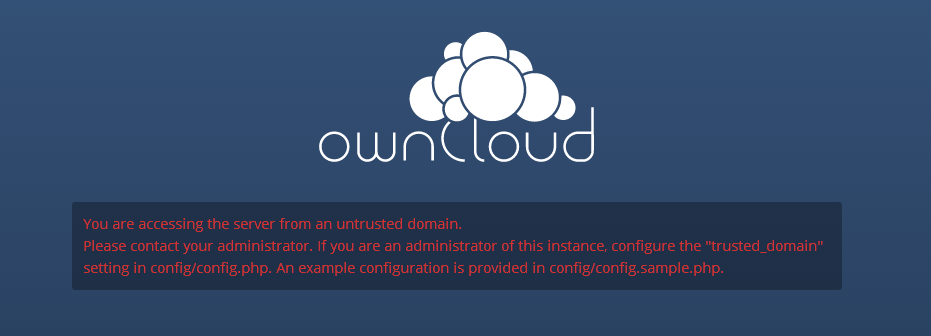 The error message when accessing owncloud from outside your LAN.