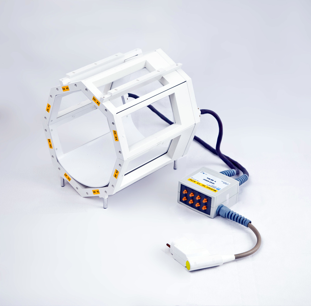 A birdcage RF coil - often used for head imaging