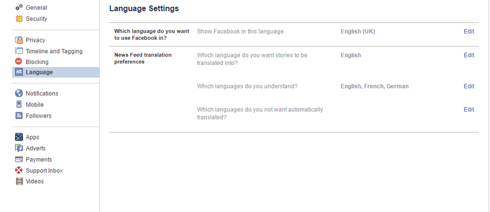 "3) Click the ""Edit"" link next to ""Which language do you want to use Facebook in?""."