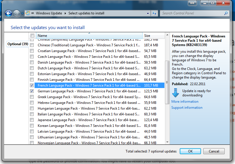 5) Using Windows Update select the language packs to install.
