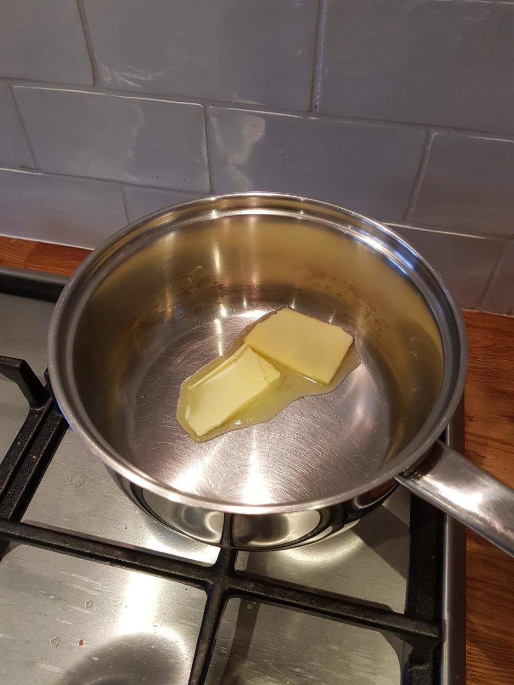1: Put a knob of butter in the pan.