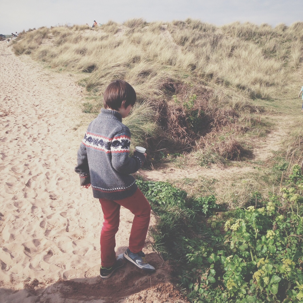 Exploring the sand dunes at Thurlestone, Devon